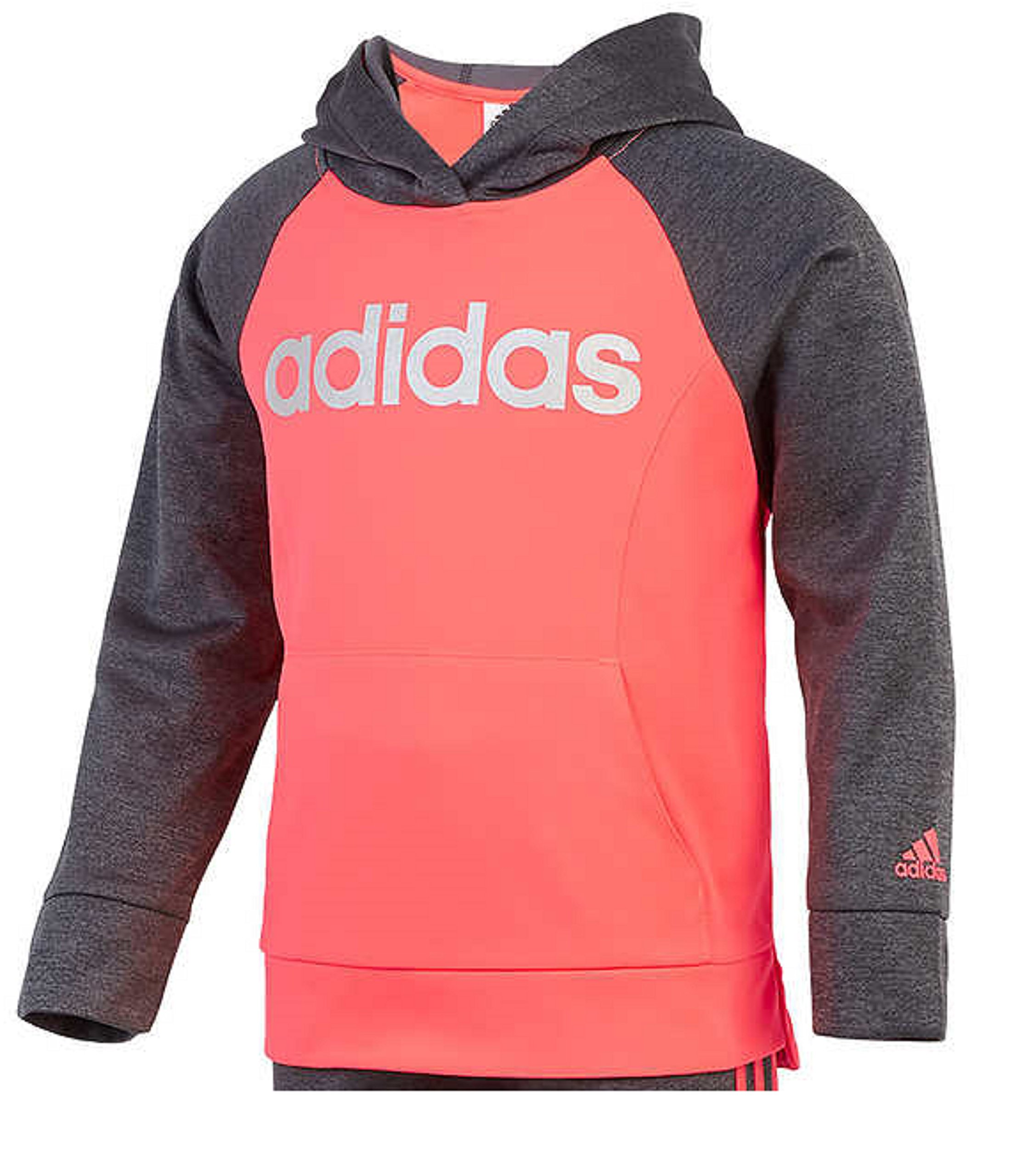adidas Girls' Tricot Hoodie Jacket and Pant Set (4T, Heather Gray/Neon Pink) by adidas (Image #3)