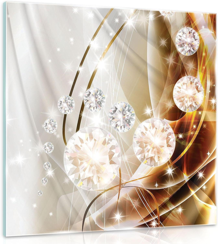 FORWALL - Cuadro de cristal para pared, diseño abstracto de diamantes, color plateado y dorado, vidrio, Oro, plateado, blanco., G4 (50cm. x 50cm.)