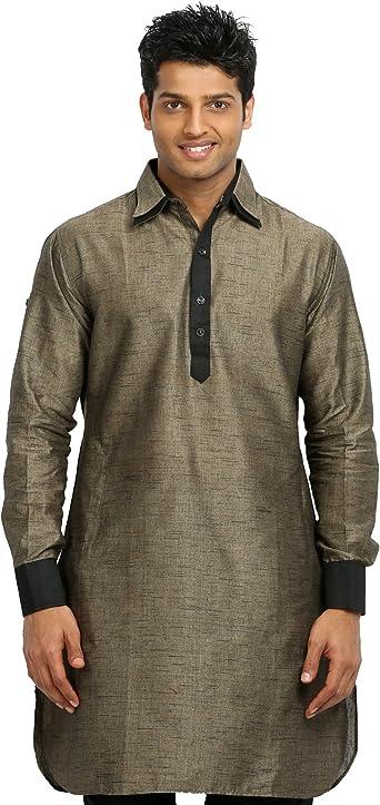 Men Indian Designer Kurta Embroidered Kurta Cotton Ethnic Men Casual Shirt