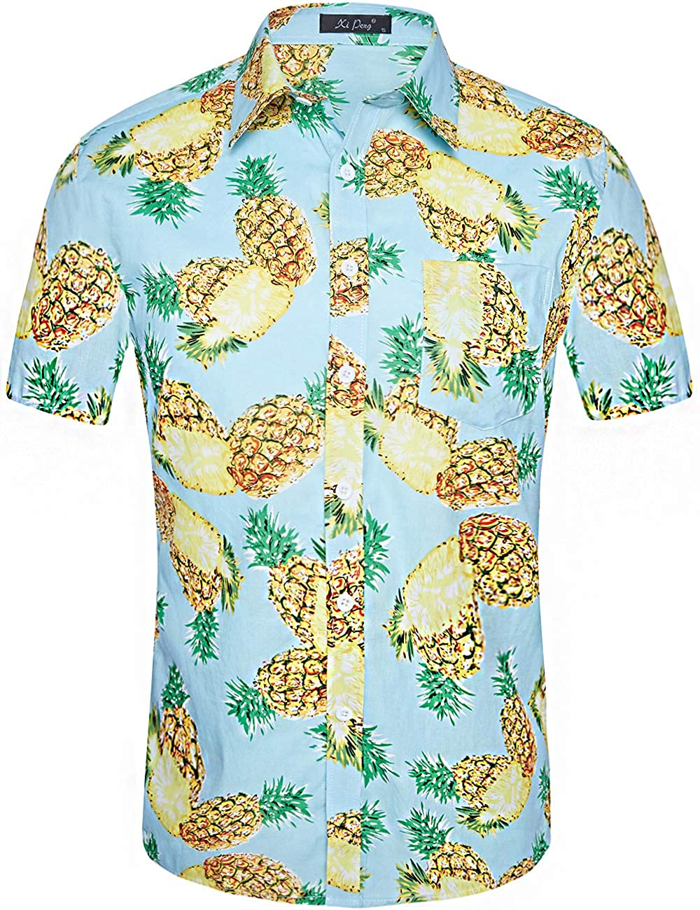 d4daa7f6 DESIGN:Summer Tropical Mens Casual Button Up Flower Print Caribbean Attire  Beach Aloha Hawaiian Shirts(Floral Hibiscus/Pineapple/Flamingo/Parrot/Palm  ...