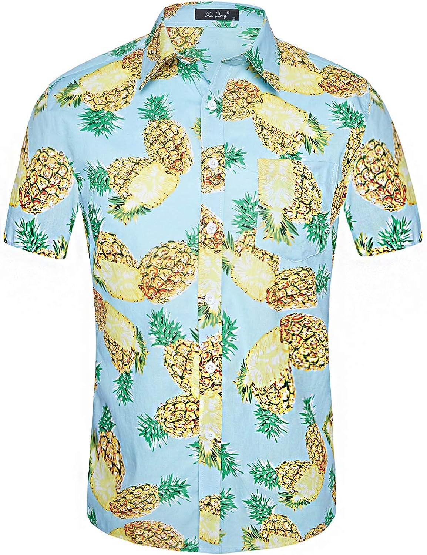 9af876319 Cotton Linen Woven Printed Designer Fabric DESIGN:Summer Tropical Mens  Casual Button Up Flower Print Caribbean Attire Beach Aloha Hawaiian Shirts(Floral  ...