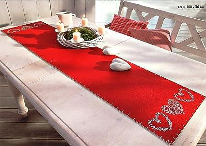 fb2e1bf4a732 Runner da tavola Natale Country Cottage chic con ornamento cuore in Bianco  su tavola di Feltro ...