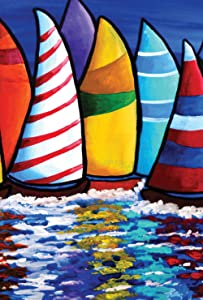 Toland Home Garden Skipper's Traffic 12.5 x 18 Inch Decorative Colorful Sail Boat Summer Ocean Sailing Garden Flag