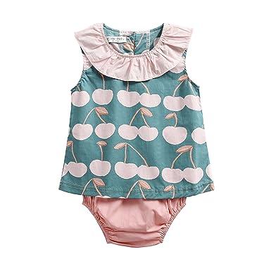 Sanlutoz Algodón Impreso Bebé Chicas Ropa Verano Recién Nacido Bebé Casual Conjunto de Ropa (12