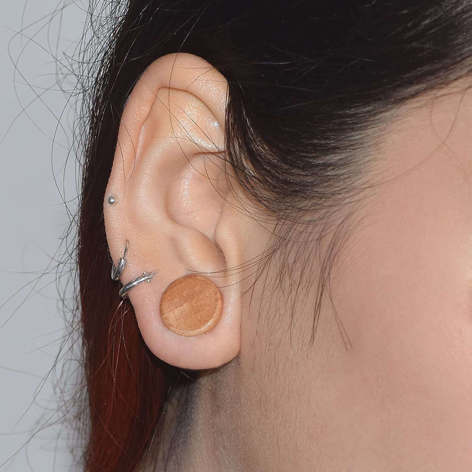 D&M Jewelry 2pcs Natural Organic Round Wooden Double Flared Ear Plug Stretcher Expander Ear Piercing Jewelry 0g-3/4 Qianmin Co.Ltd CW062-12MM