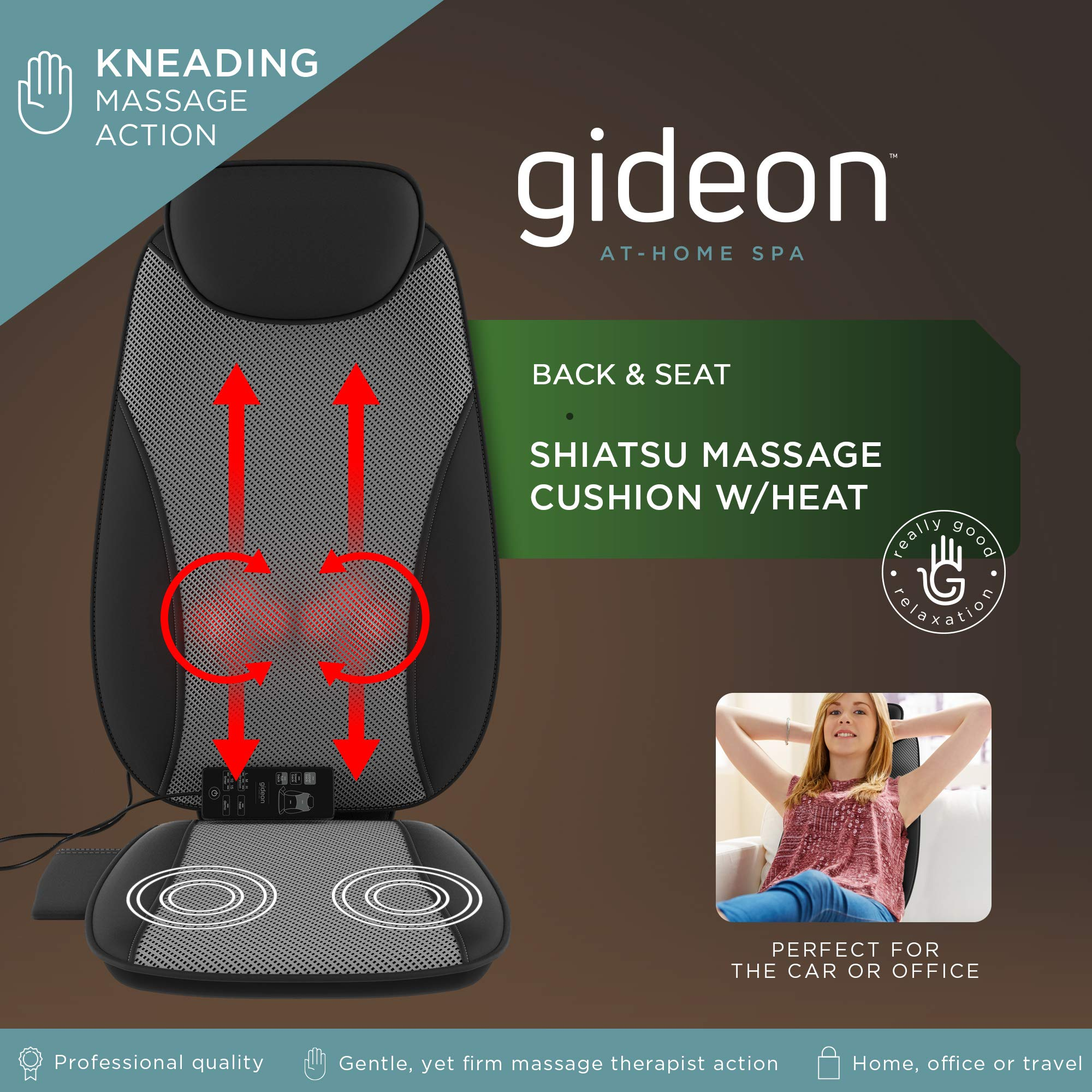 Gideon Shiatsu Back Massager Deep Kneading Massage Seat Cushion with Percussion and Vibration Motors with Heat for Full, Mid and Lower Back and You're Bottom - Precise Pinpoint Customization Control