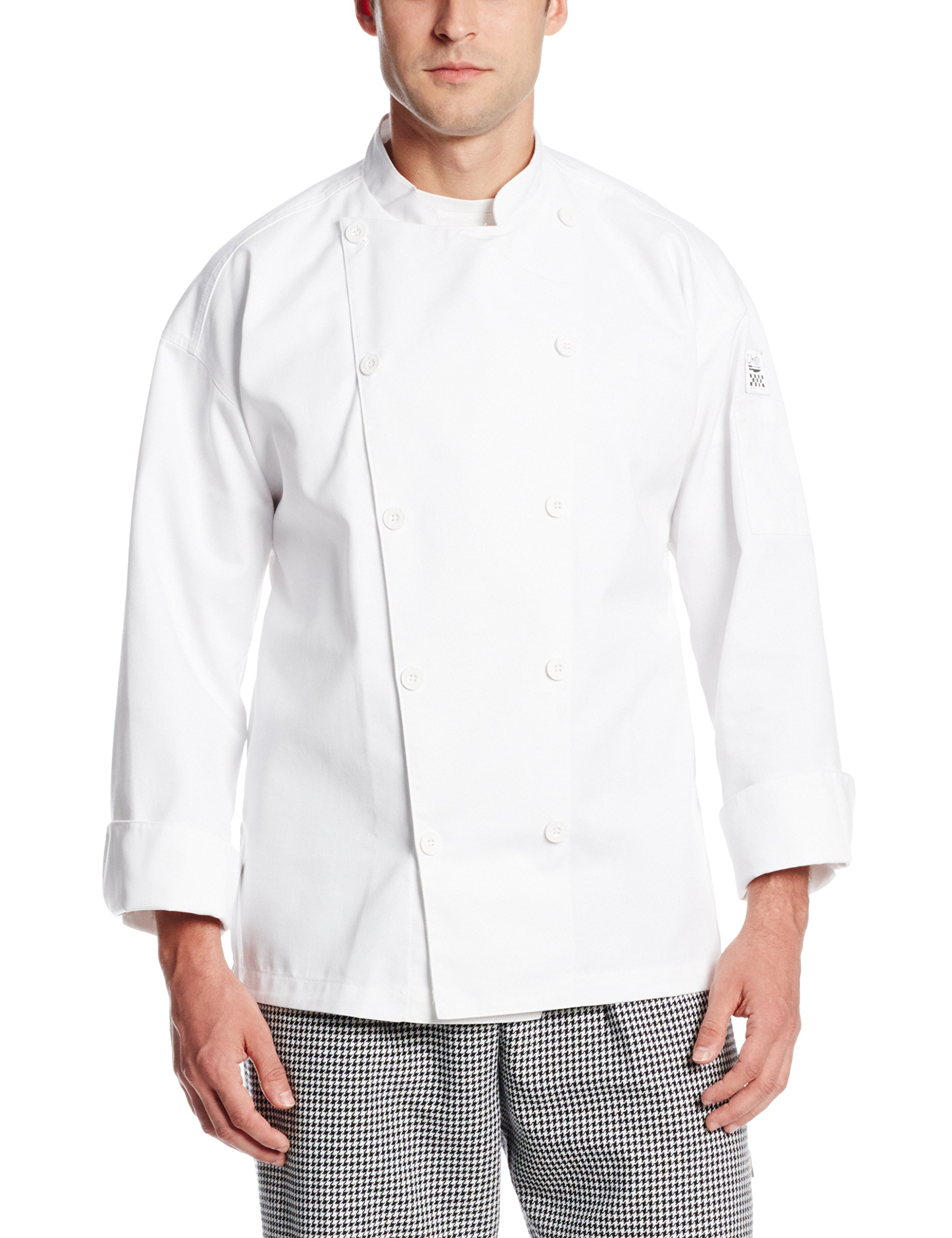 San Jamar J028 Chef-Tex Poly Cotton Traditional Long Sleeve Chef Jacket with Chef Logo Button, Small, White by San Jamar