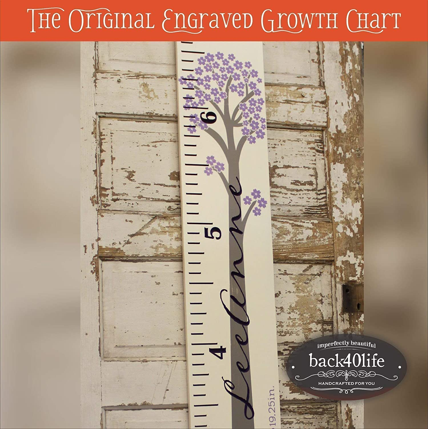 Personalized engraved wooden ruler growth height chart (The Bentley) - engraved lettering with cherry tree flourish (GC-Bentley)