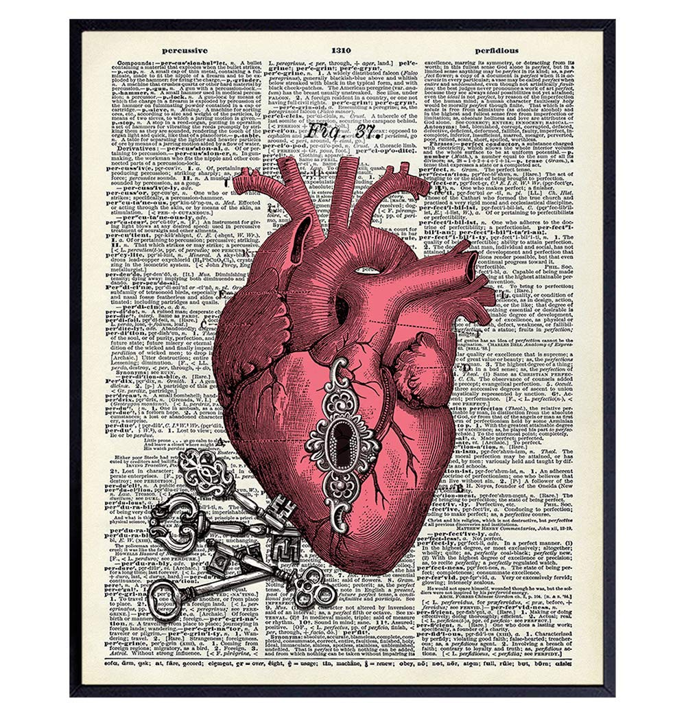 Goth Gothic Home Decor Wall Art Steampunk Heart Wall Decor Medieval Decor For Living Room Bedroom Bathroom Cool Gift Upcycled Dictionary Picture Print Photo Handmade