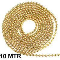 Beadsncraft Iron Golden Ball Chain 2 mm 10 m Pack for Silk Thread Jewellery Making