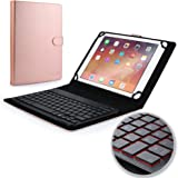 New Apple iPad 9.7 (2017) keyboard case, COOPER BACKLIGHT EXECUTIVE 2-in-1 Backlit LED Bluetooth Wireless Keyboard Leather Travel Cover Folio Portfolio Stand with 7 Colors A1822 A1823 (Rose Gold)