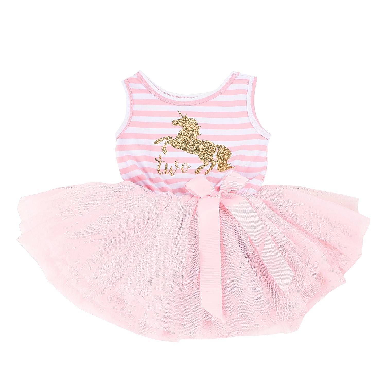 Grace & Lucille DRESS ベビーガールズ B07B8VZVS7 12-24 Months|Pink Striped Sleeveless , Unicorn Gold Pink Striped Sleeveless , Unicorn Gold 12-24 Months