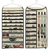 BB Brotrade Hanging Jewelry Organizer,Double Sided 56 Pockets&9 Hooks Accessories Organizer for Holding Jewelry(Beige-56 Pock