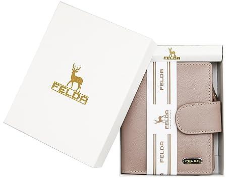 b7933e13e3ba4 Damen Geldbörse aus weichem Echtleder - 10 Kartenfächer - RFID-Blocker -  Mehrfarbig - Auster  Amazon.de  Koffer