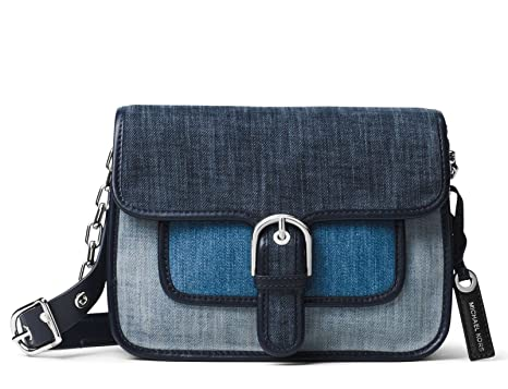 3c533993430b Image Unavailable. Image not available for. Color  MICHAEL Michael Kors  Womens Cooper Denim Messenger Handbag Blue Small