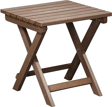 PolyTEAK Folding Side Table, Walnut Brown   Looks Like Wood   All Weather  Waterproof Material