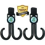 GANCIO CARROZZINA-pacco di 2 con 2 doppie multifunzionali ganci per passeggini per agganciare pacchi pannolini, borsette, borse della spesa, con strappi al velcro per adattarsi ad ogni passeggino (nero)