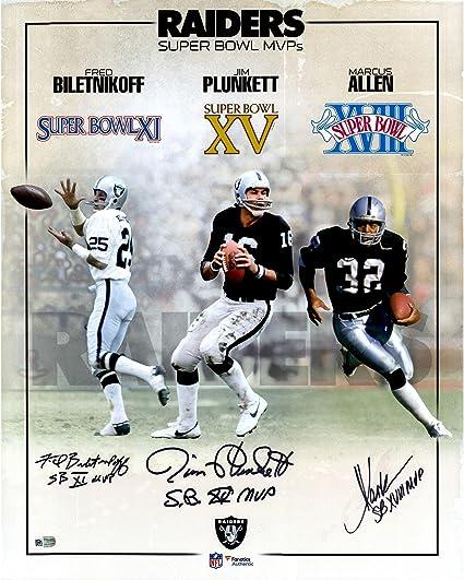 """b8097b8b7 Fred Biletnikoff, Marcus Allen & Jim Plunkett Oakland Raiders Autographed  16"""" x 20"""""""
