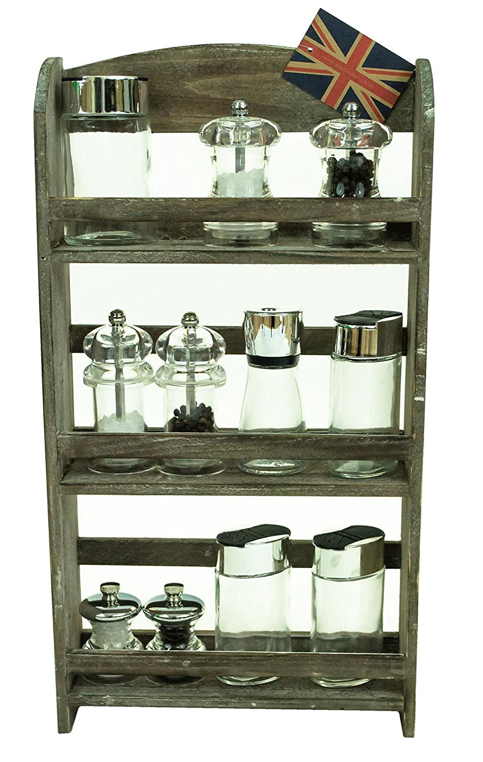 east2eden Natural Brown Wooden 3 Tier Spice Jar Kitchen Storage Rack Holder e2e