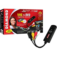 Diamond VC500 USB 2.0 One Touch VHS to digital file  and DVD converter, Video Capture Device with Easy to use Software - Convert, Edit and Save to Digital Files For Win7, Win8 and Win10
