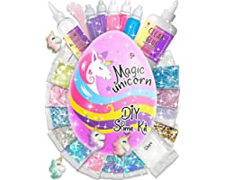 Laevo Surprise Unicorn Slime Kit for Girls - All-Inclusive DIY Slime Making Kits with 5 Secrets - Includes Glue, Activator an