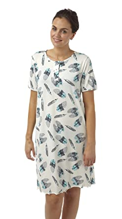 ebee0dd8c4 Ladies Short Plus Size Jersey Nightdress. Ivory   Grey   Aqua Feather  Print. Sizes 20-22 24-26 28-30 32-34 36-38 (28-30)  Amazon.co.uk  Clothing