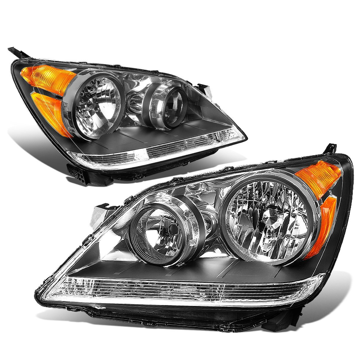 DNA MOTORING HL-OH-044-BK-AM Headlight Assembly, Driver and Passenger Side