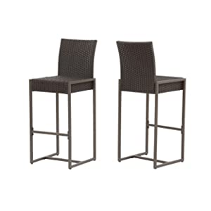 Christopher Knight Home 305137 Kelly Outdoor Wicker 30 Inch Barstool (Set of 2), Dark Brown