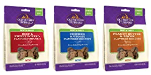 Old Mother Hubbard Soft & Chewy Oven-Baked Mini Dog Biscuits in 3 Flavors: (1) Peanut Butter & Bacon, (1) Beef & Sweet Potato and (1) Chicken & Veggie (3 Bags Total, 8 Ounces Each)
