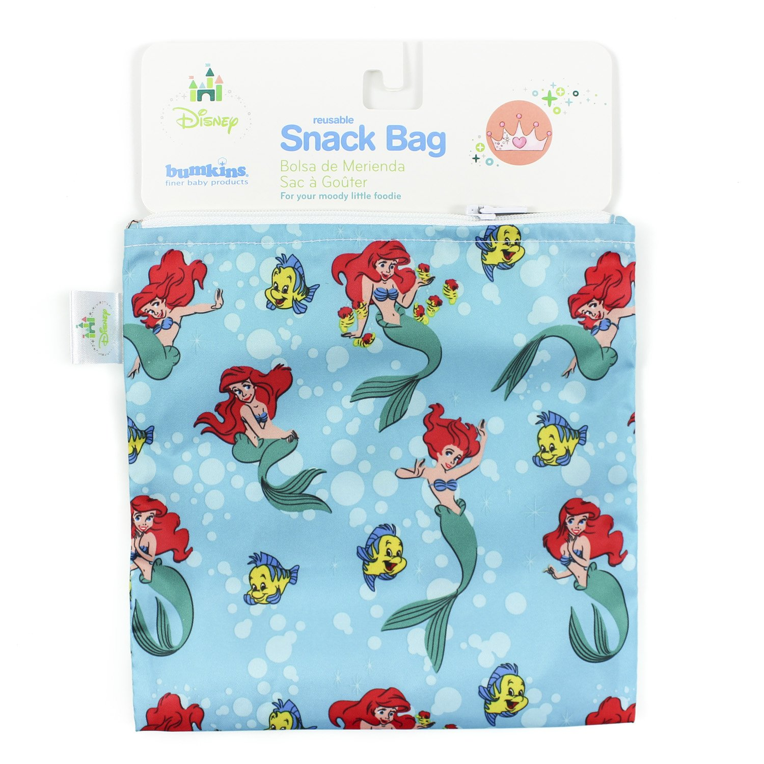 Bumkins Disney Baby Reusable Snack Bag Large, Ariel