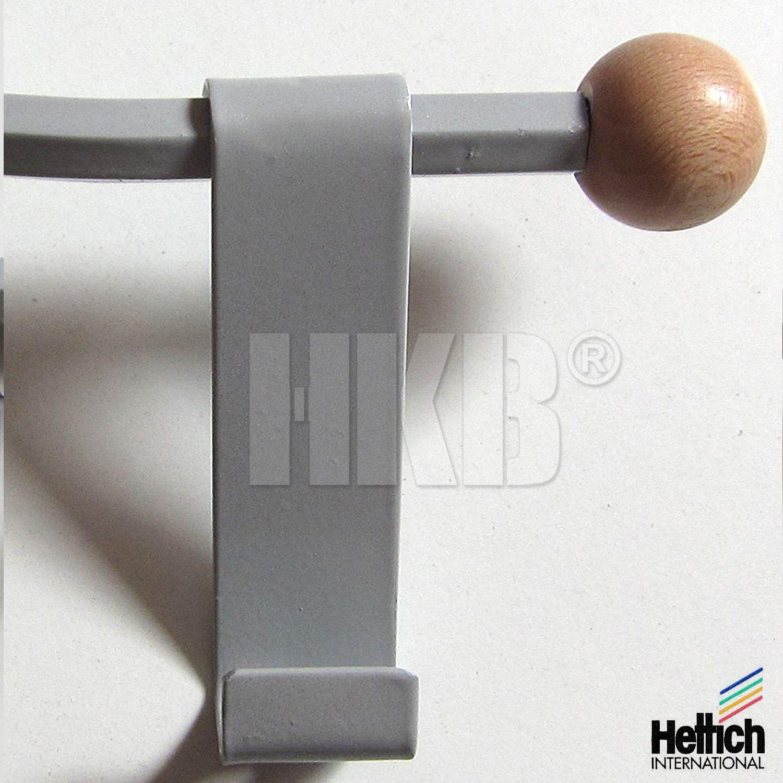 1 St/ück HKB /® T/ürgarderobe stabile Ausf/ührung Art.-Nr Handt/ücher Qualit/ät von Hersteller Hettich Stahl grau lackiert 27006 f/ür M/äntel Echtholz M/ützen 8 Stahlhaken zum Einh/ängen