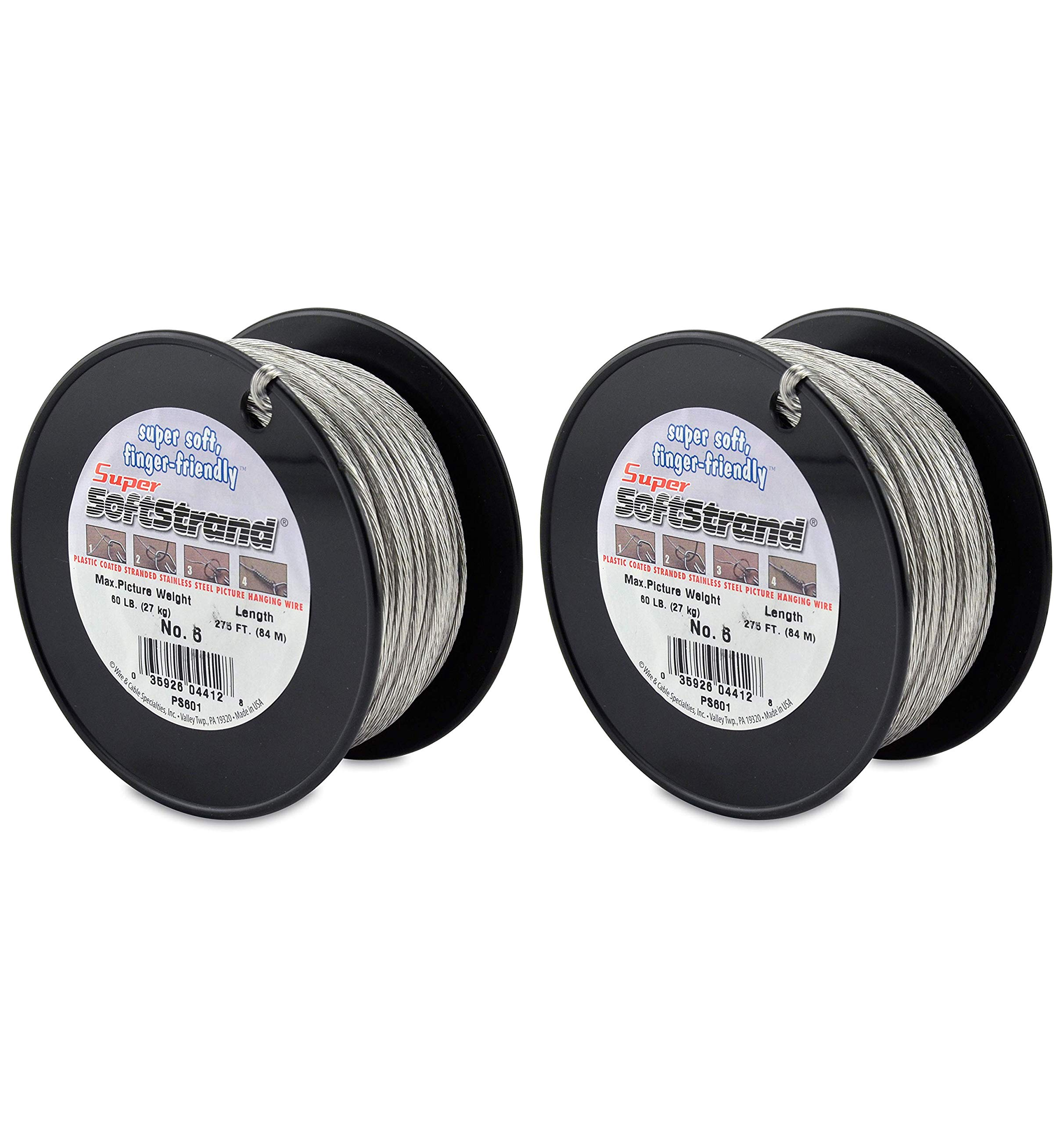 SuperSoftstrand Size 6-275-Feet Picture Wire Vinyl Coated Stranded Stainless Steel (Twо Pаck)