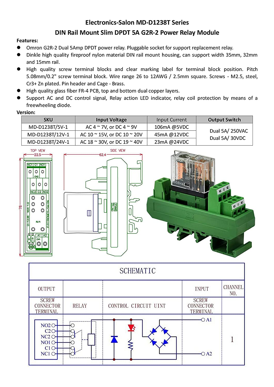 Electronics-salon AC//DC 12/V fin 5/A Rail DIN DPDT Relais de puissance module dinterface G2r-2/12/V.