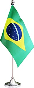 Brazil Desktop Flag,Brazilian Table Flag,Desk Flag,Office Flag,for Home Garden Office Decoration, Festival Celebrations
