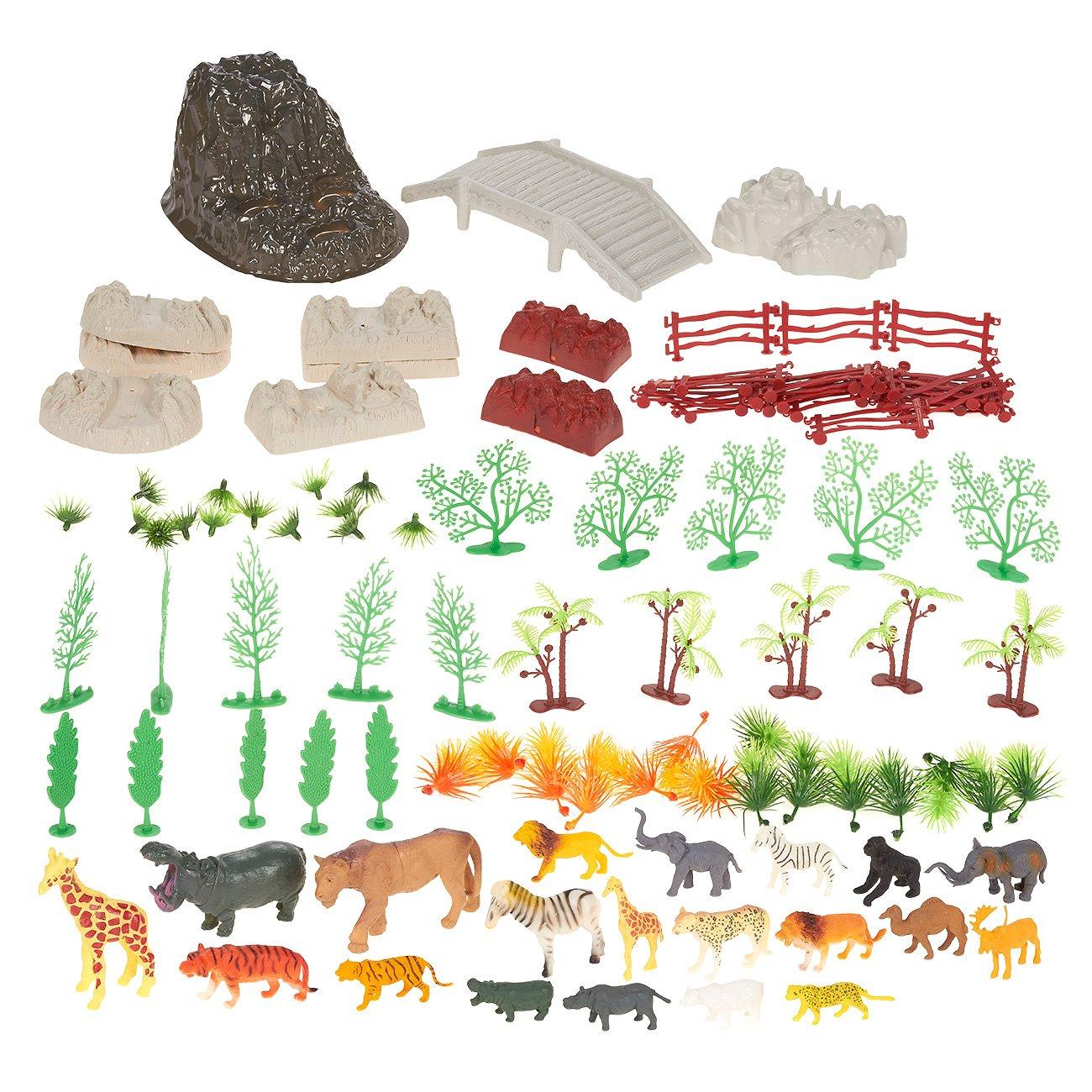 Plastic Zoo Animal Toys 100 Pack Zoo Animal Figures Set Small Zoo