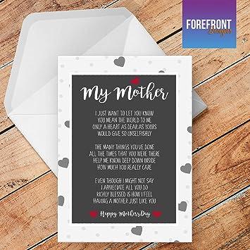 Personalisierbarmeine Mutter Gedicht Grußkarte Texten Für