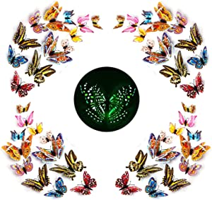 48 Pcs 3D Luminous Double Wings Butterfly Wall Stickers Decor, Colorful Art Butterfly Wall Stickers Removable DIY Home Decorations for Girls Boys Bedroom or Party Wedding Offices Living Room