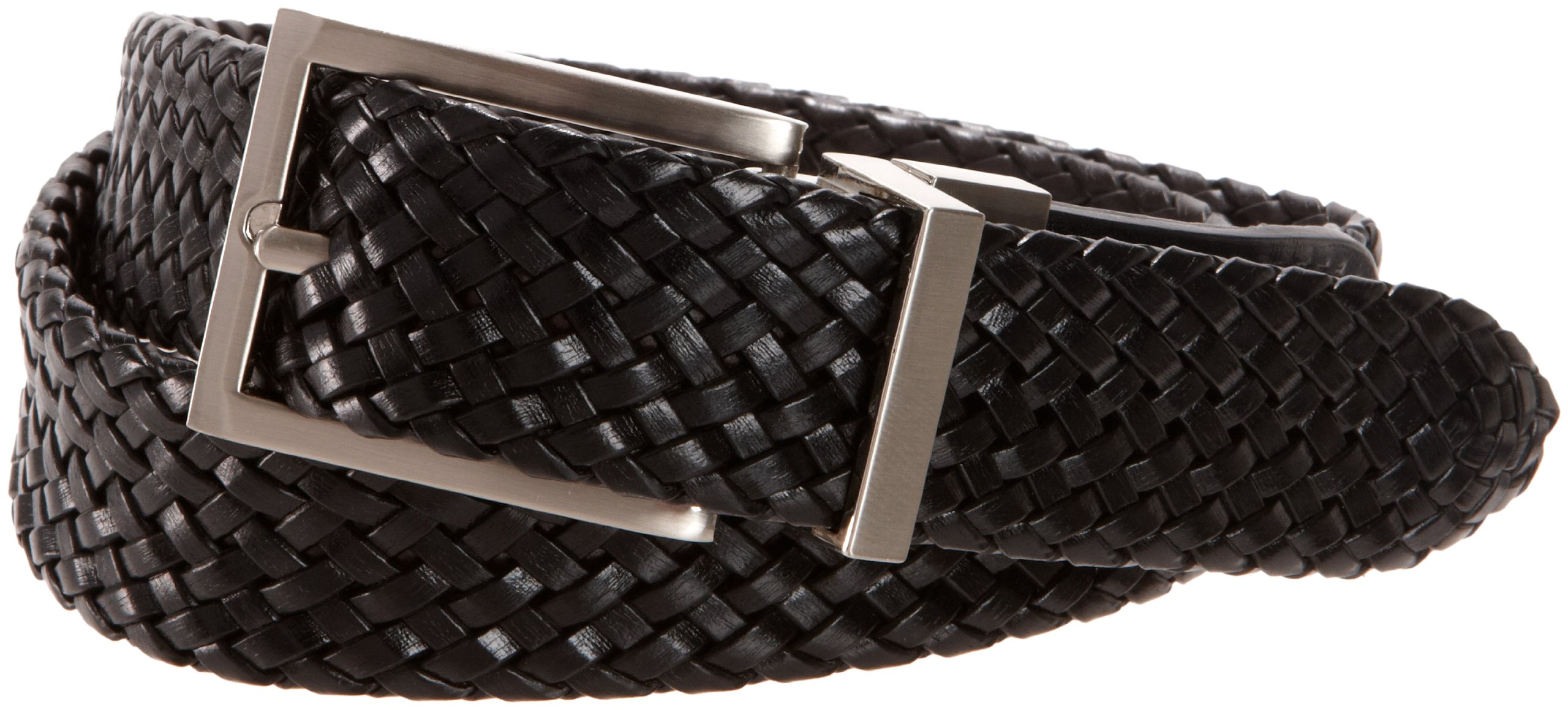 Dockers Big Boys' Reversible Black To Brown Braided Belt With Brushed Nickel Finish Buckle,Brn/Blk,MD (waist 26 in - 28 in)