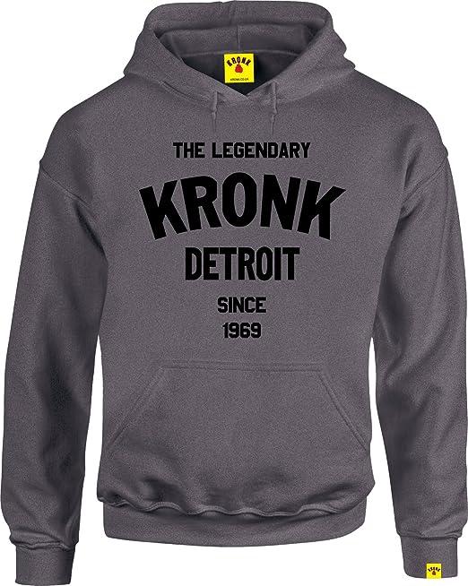 Legendario kronk Detroit de boxeo gimnasio camiseta de manga larga sudadera con capucha, Charcoal,