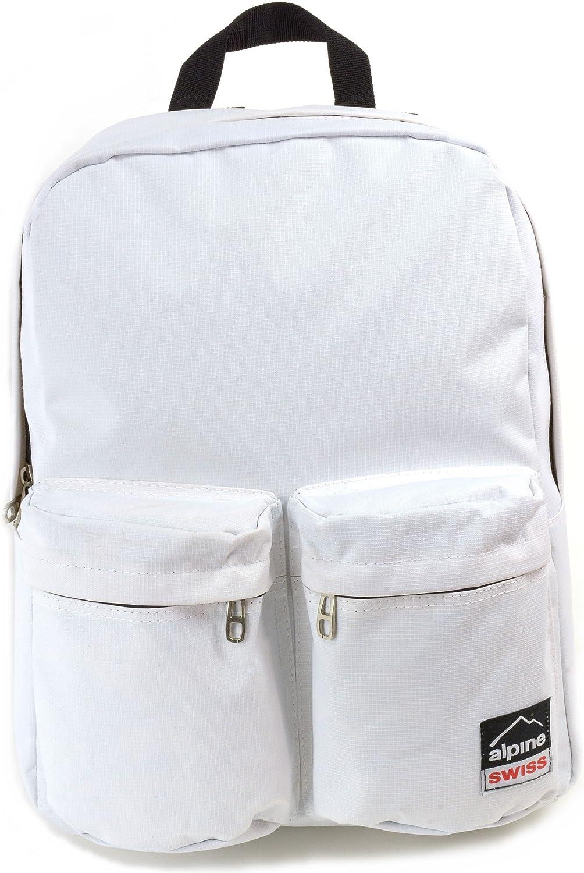 Alpine Swiss Major School Bag Backpack Bookbag 1 Year Warranty White