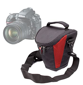 DURAGADGET Funda Negra Y Roja para La Cámara Nikon D800: Amazon.es ...