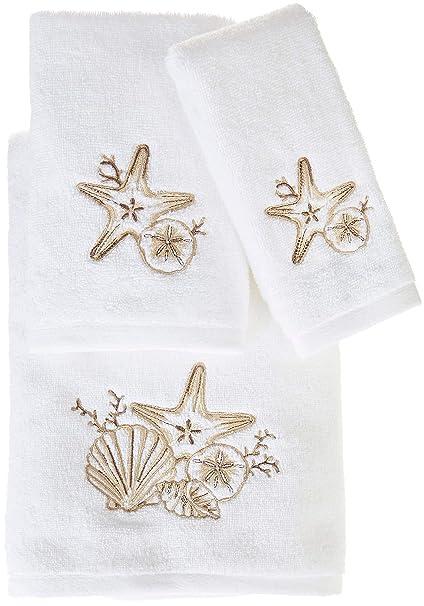 Coastal Home Embroidered Sag Harbor Bath Towel Collection Bath Towel White Beige
