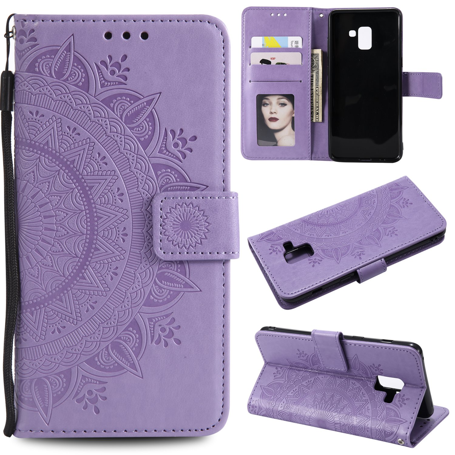 Galaxy A8 Plus 2018 Floral Wallet Case,Galaxy A8 Plus 2018 Strap Flip Case,Leecase Embossed Totem Flower Design Pu Leather Bookstyle Stand Flip Case for Samsung Galaxy A8 Plus 2018-Purple