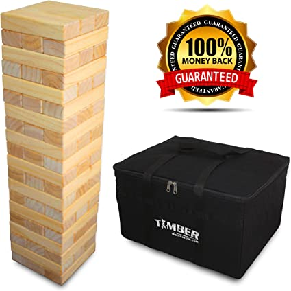 Amazon.com: Giant Timber - Jumbo Size Wood Game - Ideal for Outdoors - Perfect for Adults, Kids 60 XL Pcs 7.5 x 2.5 x 1.5 Inch - Over 5 Feet: Toys & Games