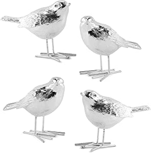 AuldHome Silver Bird Ornaments (Set of 4 Figurines)