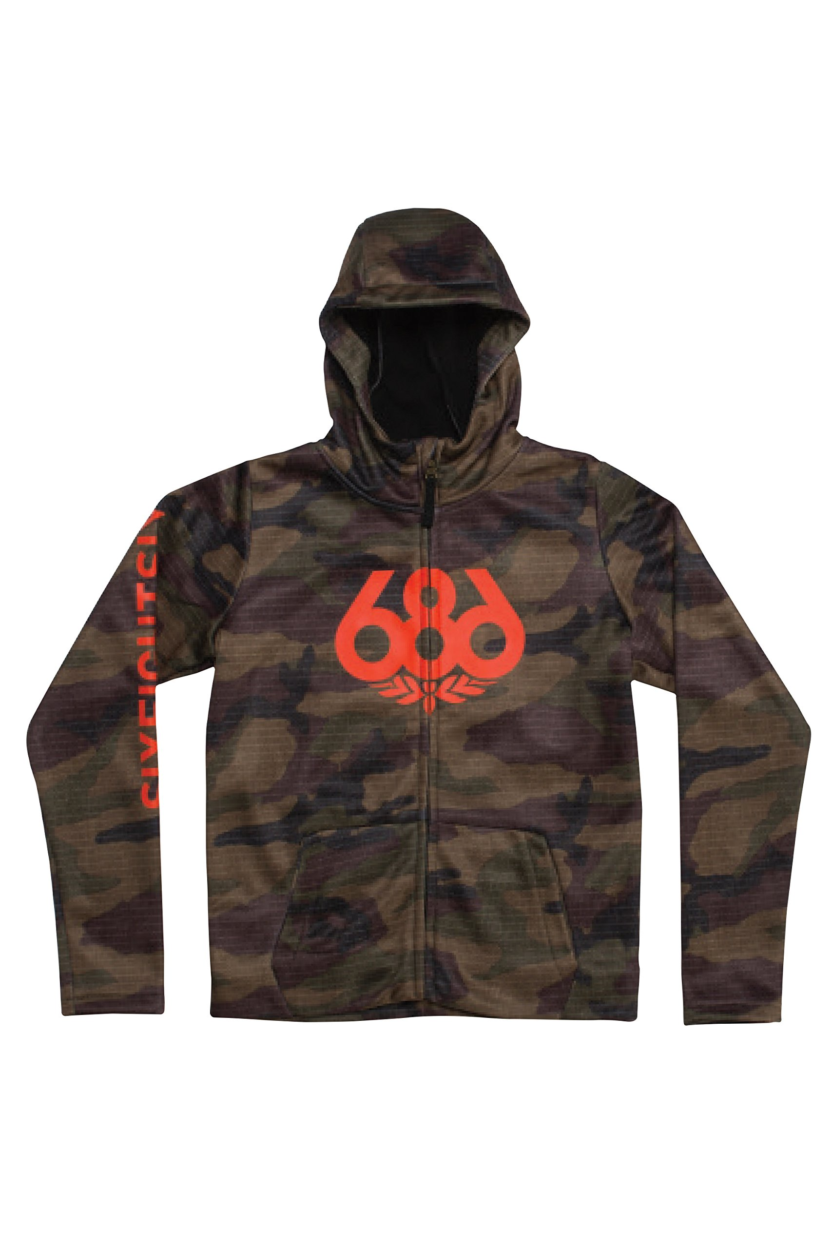 686 Boys' Bonded Zip-Up Hoody | Jersey and Fleece Backed Jacket | Dark Camo - L