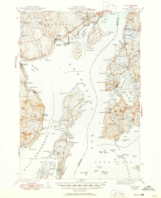 Amazon Com Yellowmaps Castine Me Topo Map 1 62500 Scale 15 X 15