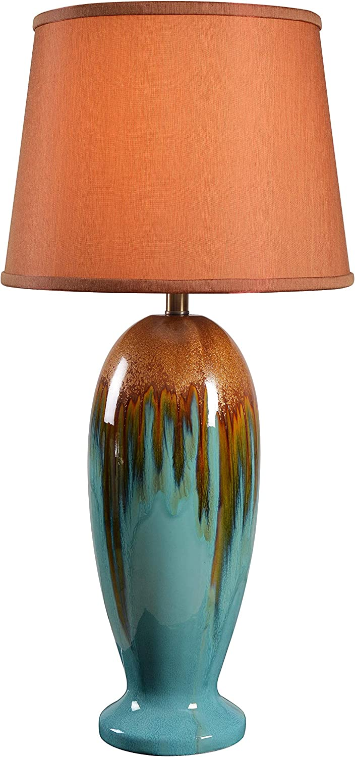 Kenroy Home Casual Table Lamp 31 5 Inch Height 15 Inch Diameter With Teal Ceramic Glaze Finish Home Improvement