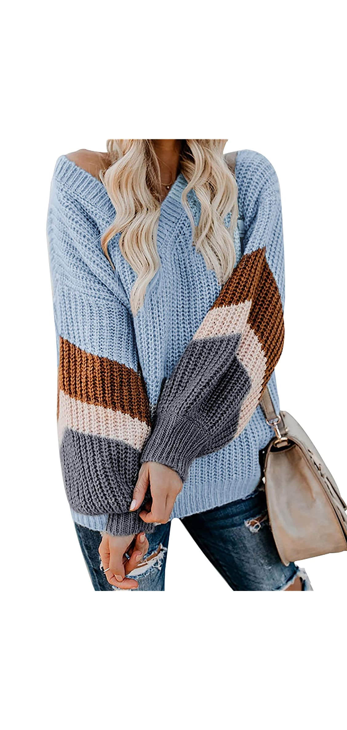 Women's Chunky Knit Sweater Striped Sleeve Pullover Tops