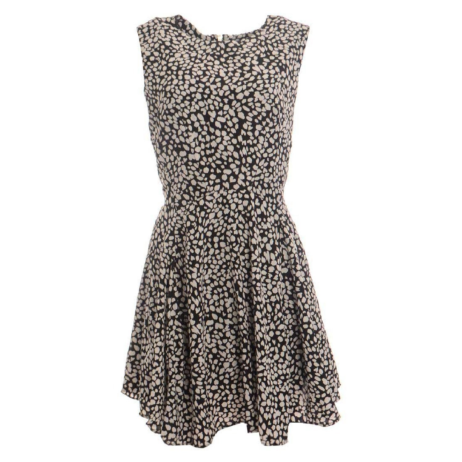 Bar III Black Fit and Flare Dress with Animal Prints Size M
